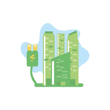 facade buildings urban with energy plug vector illustration design Banco de Imagens - 132460945