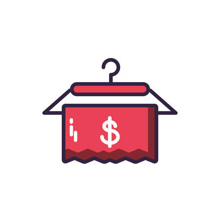 hangers and dollar, icon of shop on white background vector illustration design