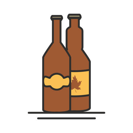 bottles beers oktoberfest festival seal vector illustration design