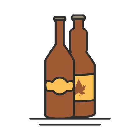 bottles beers oktoberfest festival seal vector illustration design