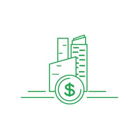 facade building friendly with money coin vector illustration design Banco de Imagens - 132483151