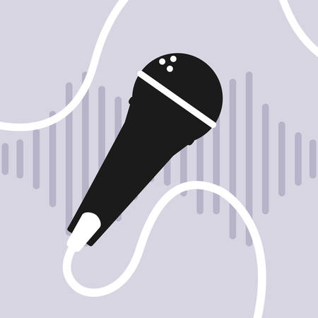banner with microphone audio device vector illustration design