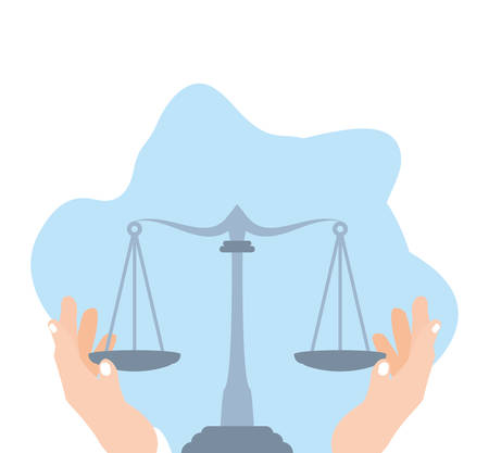 hands with justice balance symbol isolated icon vector illustration design