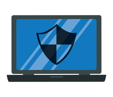 laptop computer with security shield vector illustration design