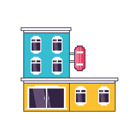 hotel building place isolated icon vector illustration design