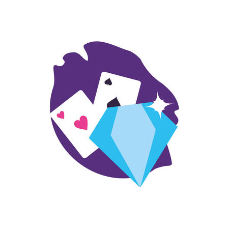 poker casino game cards with diamond stone vector illustration design