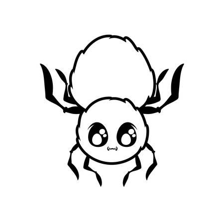 creepy spider animal on white background vector illustration design Ilustração