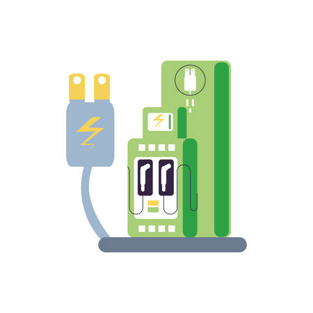 energy plug electric with energy electric service station vector illustration design Ilustracja