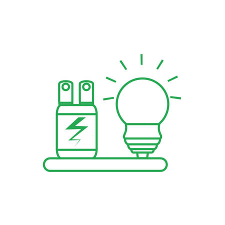 saving bulb electric with plug energy vector illustration design Ilustracja
