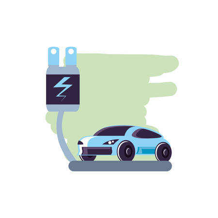energy plug electric with car sedan transportation vector illustration design