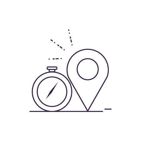 compass guide device with pin location vector illustration design  イラスト・ベクター素材