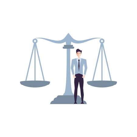 justice balance with business man elegant vector illustration design