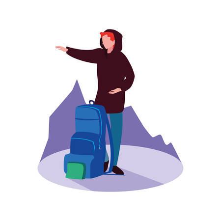 young man with travelbag icon vector illustration design