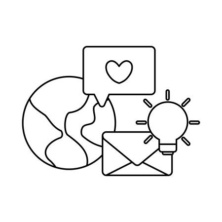 social media marketing with planet earth vector illustration design Ilustracja
