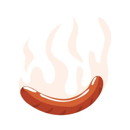 grilled sausage on white background vector illustration design Ilustracja