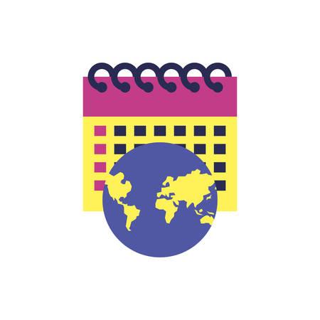calendar reminder with planet earth vector illustration design