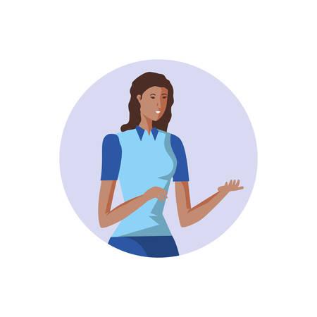 business woman elegant in frame circular vector illustration design