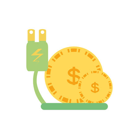 energy plug with money coins vector illustration design