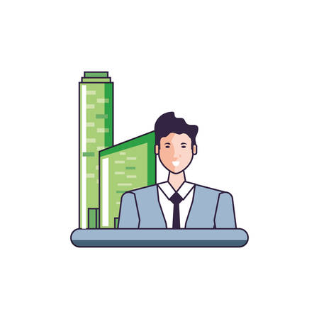 business man elegant with buildings facade vector illustration design