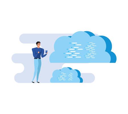 business man using smartphone with clouds computing vector illustration design Ilustracja