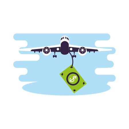 Avión volando vehículo con facturas dólares, diseño de ilustraciones vectoriales