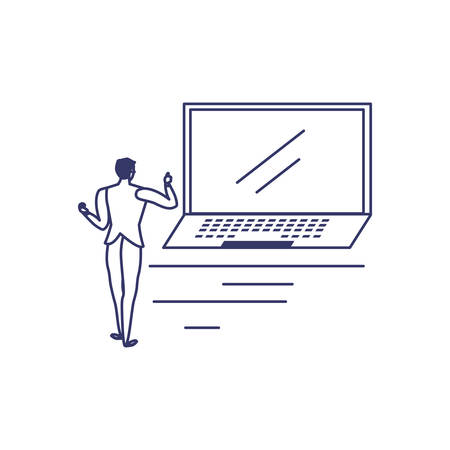 silhouette of man with laptop in white background vector illustration design