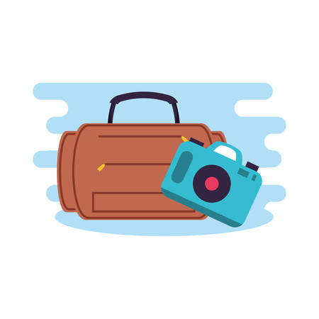 travel suitcase equipment with camera photographic vector illustration design Banque d'images - 132550646