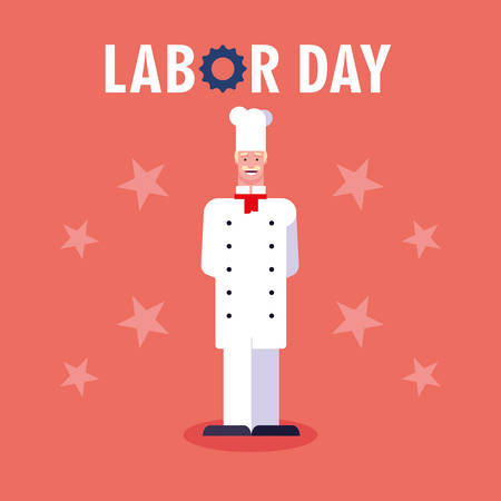 labor day label with professional chef vector illustration design