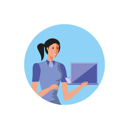 business woman with laptop computer in frame circular vector illustration design