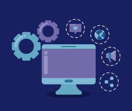 computer desk with social media icons vector illustration design Illustration