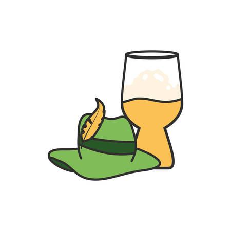 cup of beer with tyroline hat oktoberfest festival vector illustration design