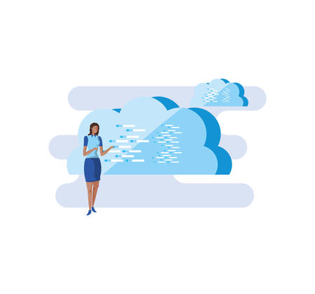 business woman elegant with clouds computing vector illustration design