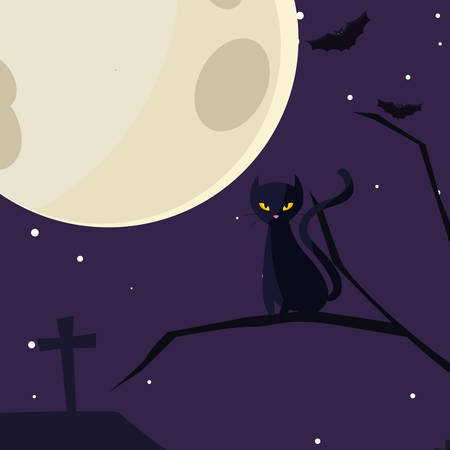 Cat cartoon design, Halloween holiday horror scary celebration autumn dark and party theme Vector illustration