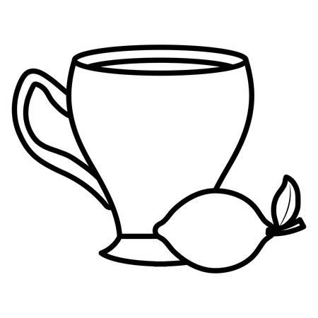 cup of lemon tea over white background, vector illustration Ilustracja
