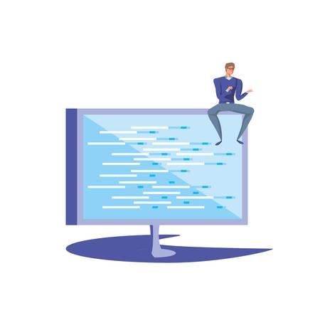 business man sitting in computer monitor vector illustration design Illustration