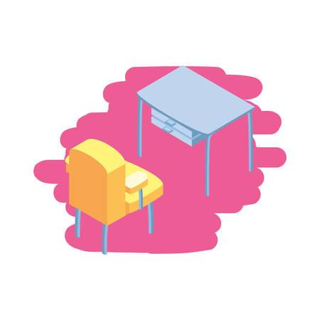 office desk with comfortable sofa vector illustration design Ilustracja
