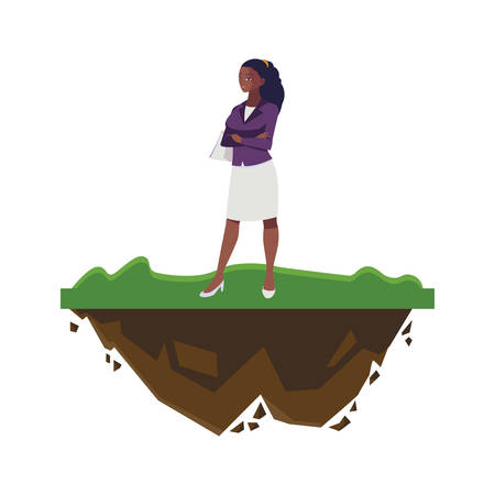 afro businesswoman on the lawn character vector illustration design