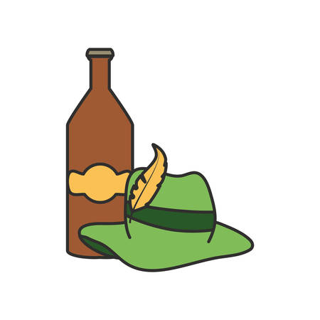 bottle beer and tyrolean hat oktoberfest festival vector illustration design