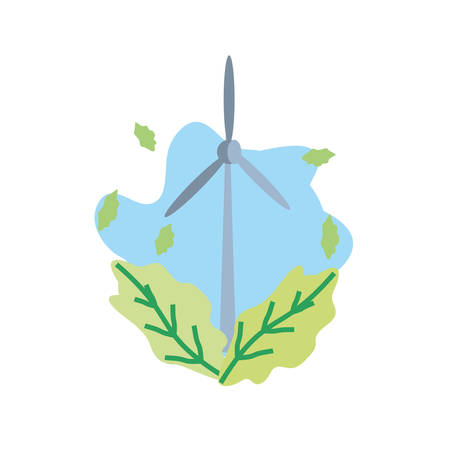 windmill air power with leafs isolated icon vector illustration design