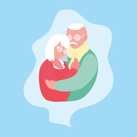 cute old couple hugged in frame vector illustration design