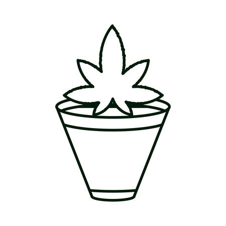 cannabis plant in pot nature icon vector illustration design