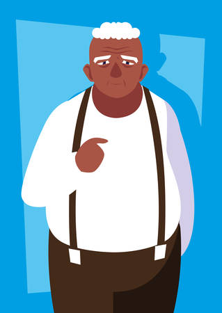 fat old man avatar character vector illustration design