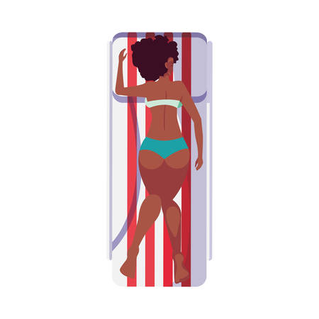beautiful afro woman with swimsuit in tanning mat vector illustration design