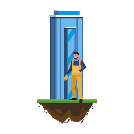 male builder constructor worker with building vector illustration design