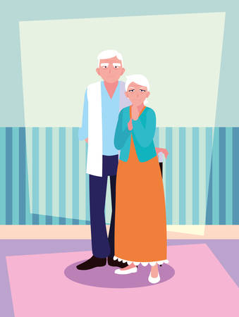 cute old couple avatar character vector illustration design