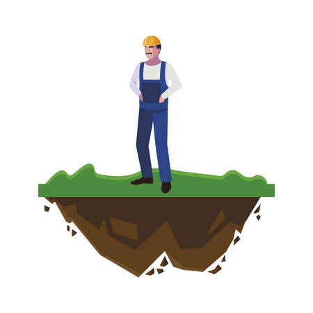 male builder constructor worker on the lawn vector illustration design