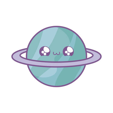 cute planet saturn kawaii style vector illustration design