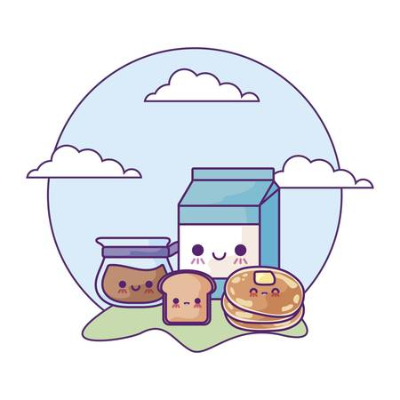 milk in box with set food in landscape kawaii style vector illustration design