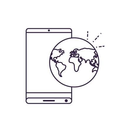 smartphone with world planet travel app vector illustration design