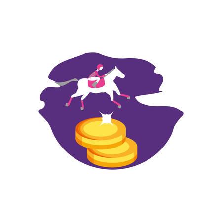 horse with jockey racecourse and ships casino vector illustration design